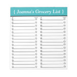 """Personalized 5.5"""" x 6"""" Teal Grocery List Notepad"""