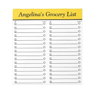 """Personalized 5.5"""" x 6"""" Yellow Grocery List Notepad"""