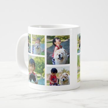 Personalized 5 Photo Color Collage Frames Large Coffee Mug
