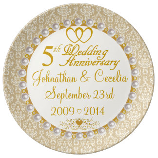 Personalized 5th Anniversary Porcelain Plate