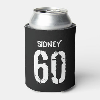 Personalized 60th Birthday Black White Can Cooler