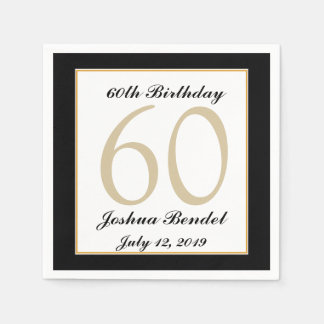 Personalized 60th Birthday Party Napkins Disposable Napkin