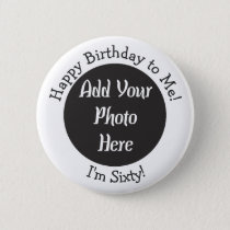 Personalized 60th Birthday Photo Template Button