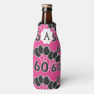 Personalized 60th Birthday PINK Bottle Cooler