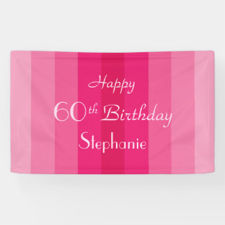 Personalized 60th Birthday Sign Pink Stripes