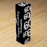 "Personalized 60th Birthday Wine Box<br><div class=""desc"">60 yrs old,  over the hill,  black and white Customizable Wine Gift Box.</div>"