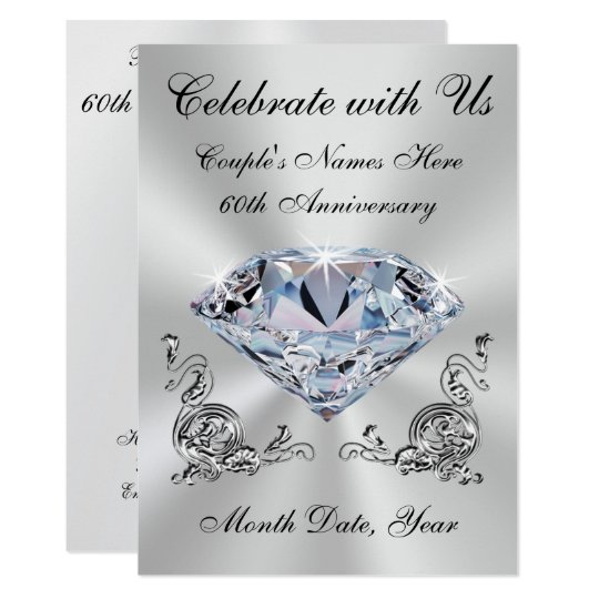 Diamond Wedding Invitation Label: Personalized 60th Wedding Anniversary Invitations