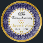 "Personalized 65th Anniversary Porcelain Plate<br><div class=""desc"">Personalized 65th Anniversary Porcelain Plate An elegant Damask print provides a backdrop for a lovely likeliness of a string of pearls over a ring of gold. Simply fill in the blanks for a truly unique and personalized anniversary gift that will be remembered for years to come!</div>"