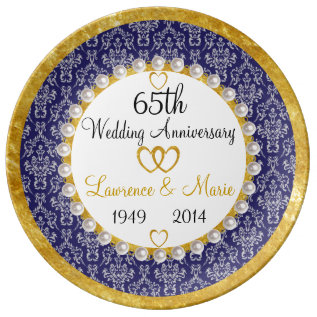 Personalized 65th Anniversary Porcelain Plate at Zazzle