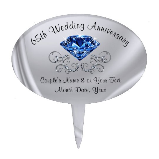 Personalized 65th Wedding Anniversary Cake Topper