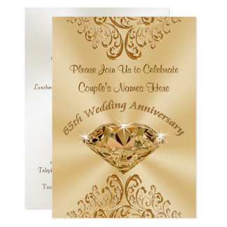 Personalized 65th Wedding Anniversary Invitations