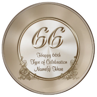 Personalized 66th Anniversary, 66th Birthday Gifts Porcelain Plate