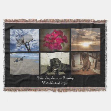 Personalized 6 Photo Afghan Mosaic Picture Collage Throw Blanket