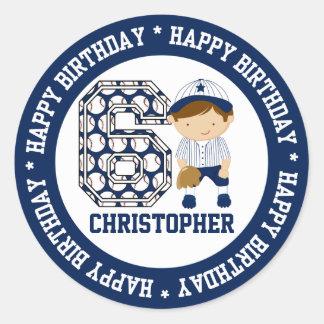Personalized 6th Birthday Baseball Catcher Blue Classic Round Sticker