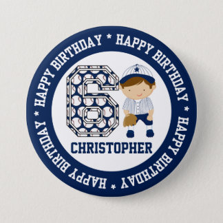 Personalized 6th Birthday Baseball Catcher BW Button
