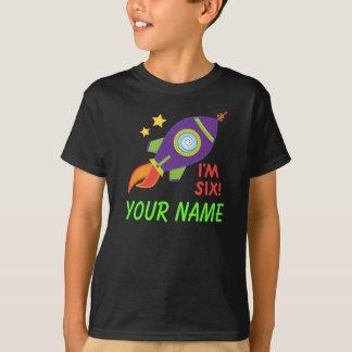 Personalized 6th Birthday Rocketship Tee Shirt