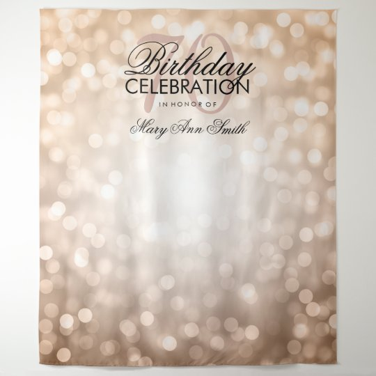 Personalized 70th Birthday Backdrop Rose Gold