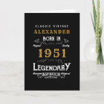 """Personalized 70th Birthday Born 1951 Vintage Black Card<br><div class=""""desc"""">A personalized classic birthday card for that birthday celebration for somebody born in 1951 and turning 70. Add the name to this vintage retro style black, white and gold design for a custom 70th birthday gift. Easily edit the name and year with the template provided. A wonderful custom black birthday...</div>"""