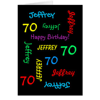 Personalized 70th Birthday Card Any Name, Black