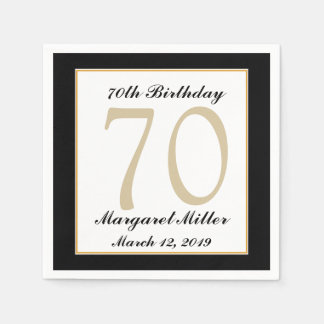 Personalized 70th Birthday Party Napkins