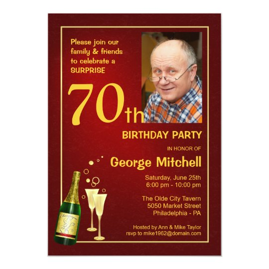 Personalized 70th Birthday Party Photo Invitations