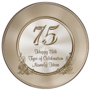 Personalized 75th Birthday Ideas For Mom Or Wife Porcelain Plate at Zazzle