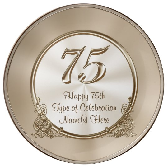 Personalized 75th Birthday Ideas For Mom Or Wife Porcelain Plate