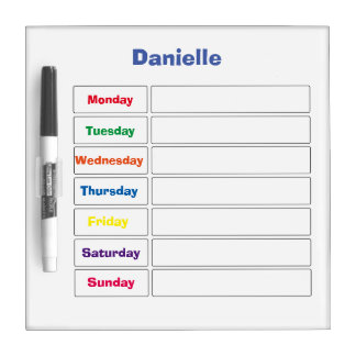 Personalized 7-Day Calendar Dry Erase Board