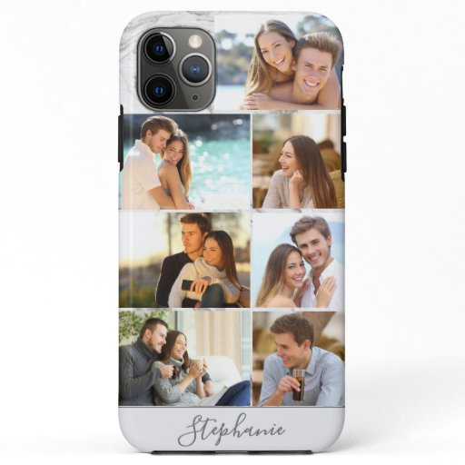 Personalized 7 Photo Collage Grey Marble iPhone 11 Pro Max Case