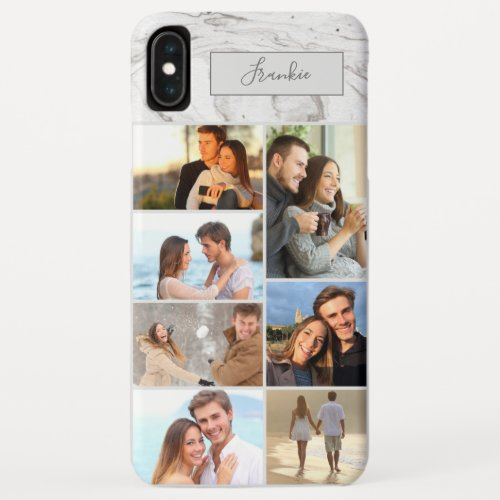 Personalized 7 Photo Collage on Grey Marble iPhone XS Max Case