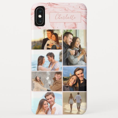 Personalized 7 Photo Collage on Pink Marble Phone Case