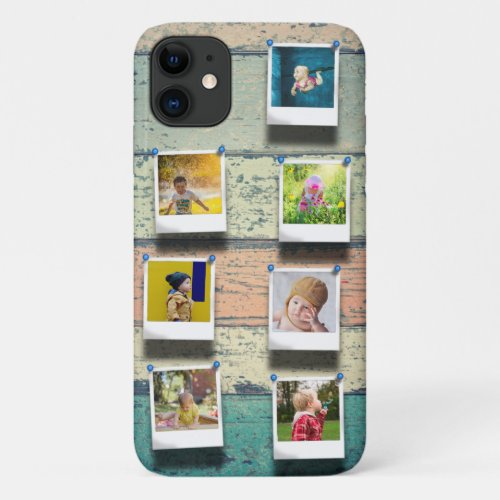 Personalized 7 Photo Collage Vintage Wood Planks Phone Case