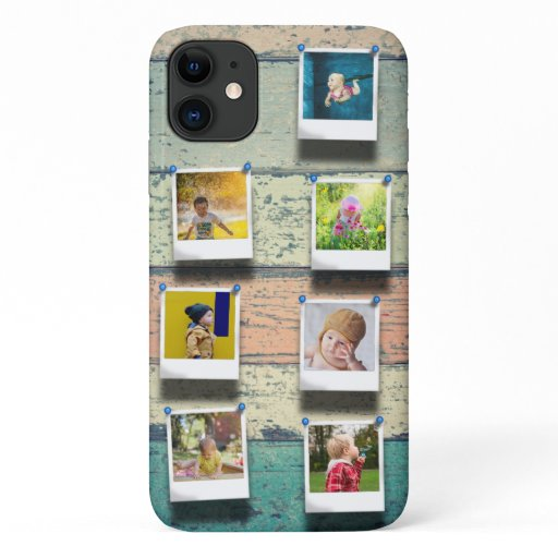 Personalized 7 Photo Collage Vintage Wood Planks iPhone 11 Case
