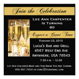 Personalized 80th Birthday Party Invitation