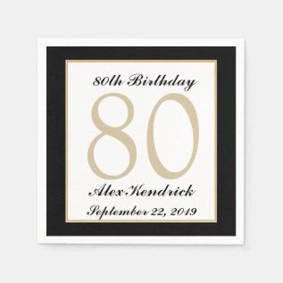 Personalized 80th Birthday Party Napkins at Zazzle