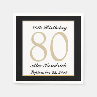 Personalized 80th Birthday Party Napkins Paper Napkins