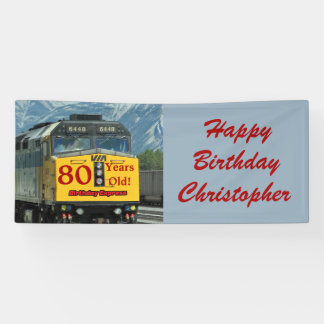 Personalized 80th Birthday Yellow Train Engine Banner
