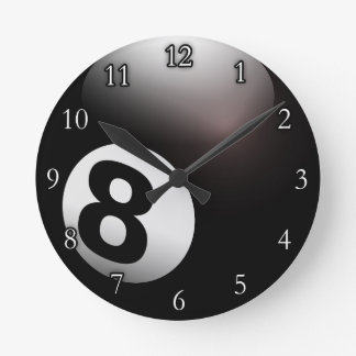 Personalized 8 Ball Billiards Round Wall Clocks