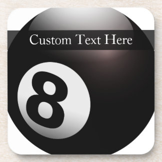 Personalized 8 Ball Billiards Drink Coaster