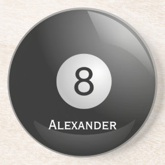 Personalized 8 ball, Billiards Pool Drink Coaster