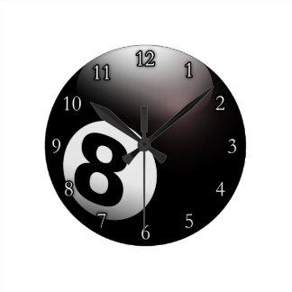 Personalized 8 Ball Billiards Round Clock