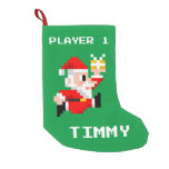 Personalized 8-Bit Santa Claus Christmas Stocking
