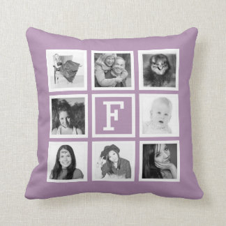 Personalized 8 Instagram Photos and Monogram Lilac Throw Pillow