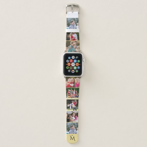Personalized 8 Photo Collage Template Monogrammed Apple Watch Band