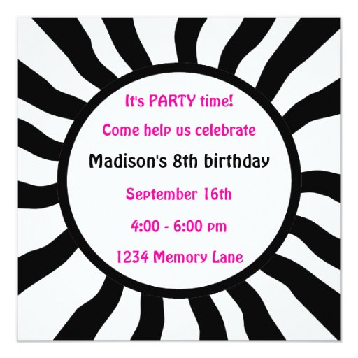 Personalized 8th Birthday Party Invitation