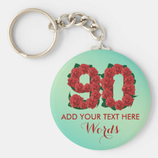 Personalized 90th birthday 90 anniversary Keychain