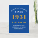 """Personalized 90th Birthday Born 1931 Blue Gold Card<br><div class=""""desc"""">For those born in 1931 and celebrating their 90th birthday we have the ideal birthday greeting card. The blue background with a white and gold design is simple and yet elegant. Easily customize the text to the front and the interior of this birthday card using the template provided. Part of...</div>"""