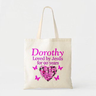 PERSONALIZED 90TH BIRTHDAY CHRISTIAN FLORAL TOTE
