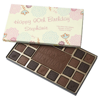 Personalized 90th Birthday Fancy Modern Floral 45 Piece Box Of Chocolates
