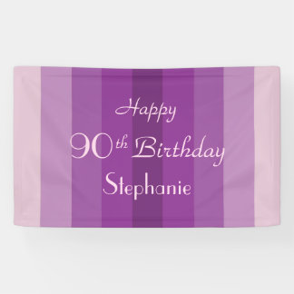 Personalized 90th Birthday Sign Purple Stripes